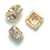Rhinestone Square Rondelle (Flat) 4X4mm Crystal Aurora Borealis/Gold